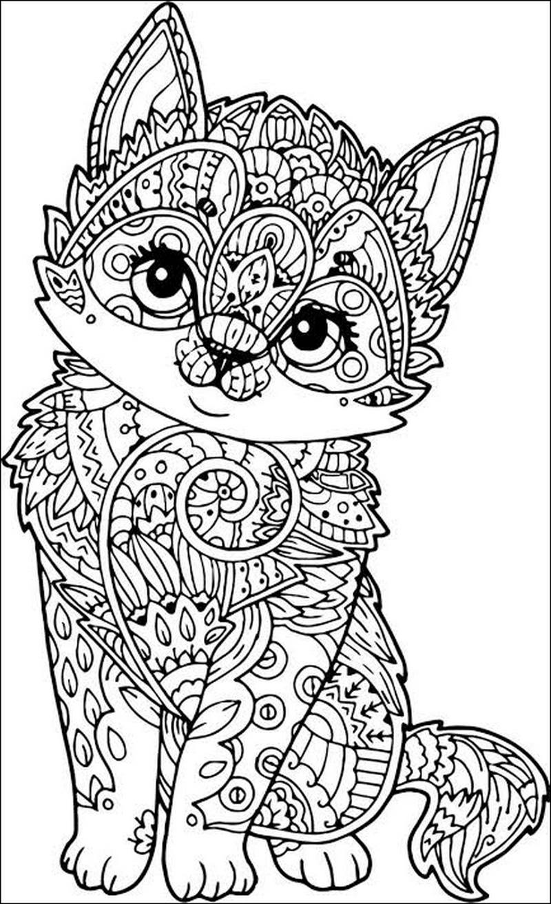 Gambar Kucing dengan Pola Mandala Full Body